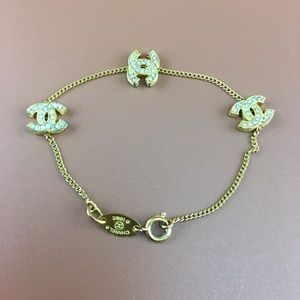 Preowned Chanel CC Smoked Crystals Charms Bracelet